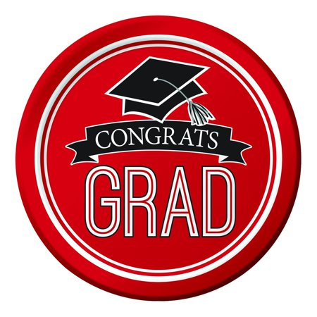 Creative Converting Graduation School Spirit Red Paper Plates, 18 ct](Graduation Plates)