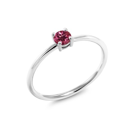 0.24 Ct Round Pink Tourmaline 10K White Gold Ring