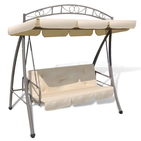 3-Person Glider Swing with Canopy Outdoor Swing Chair Porch Swing Bed Patterned Arch Sand ()