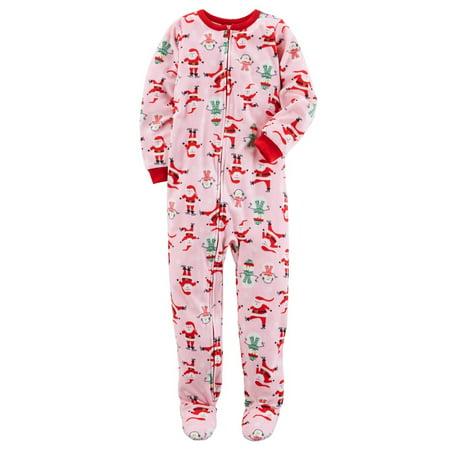 Carter s - Carter s Little Girls  1 Piece Christmas Fleece Pajamas ... a70dbba6d