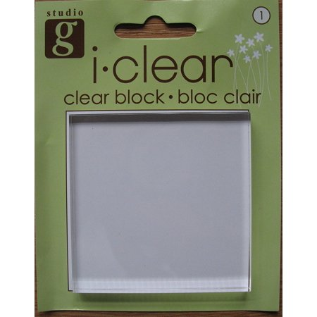 - Clear Stamping Block, 2.5 x 2.5 square acrylic mounting block for stamps; 0.25 thick By Studio G