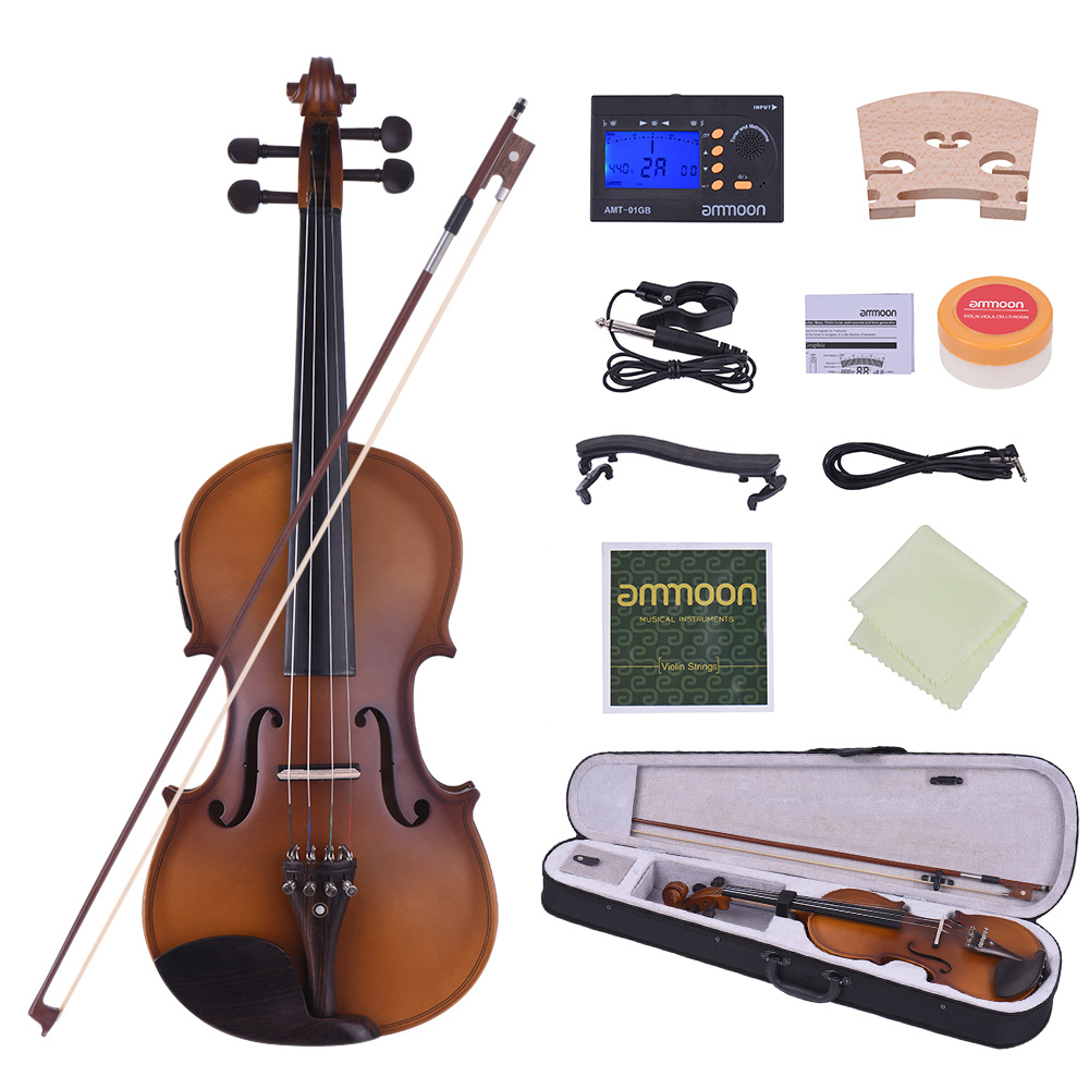 ammoon Full Size 4/4 Acoustic Electric Violin Fiddle Solid Wood Body Ebony Fingerboard Pegs Chin Rest Tailpiece