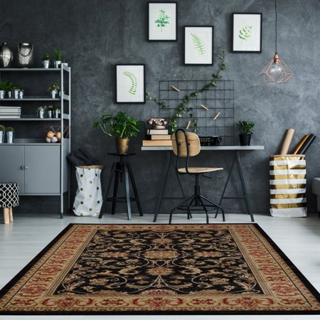 """Ladole Rugs Swallowtail Medallion Traditional Style Smooth and Durable Beautiful Area Rug Carpet in Black, 5x8(5'3"""" x 7'6"""", 160cm x 230cm) - image 4 de 4"""