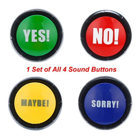 4PCS hotsales 1Set YES NO MAYBE SORRY Button Gag Sound Button Toy Prank Event Party