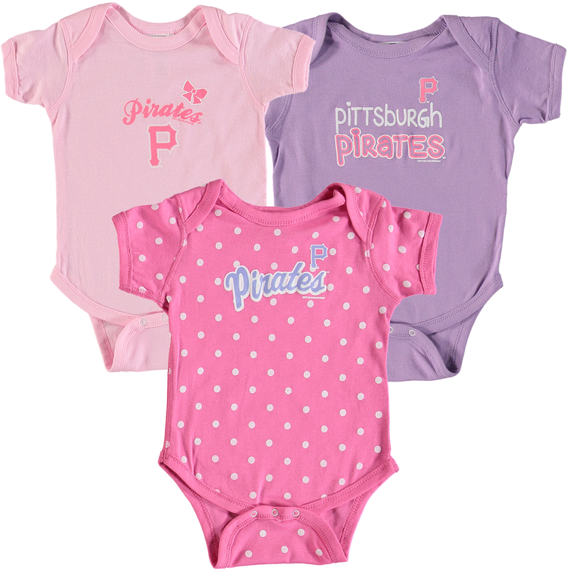 Pittsburgh Pirates Soft as a Grape Girls Infant 3-Pack Rookie Bodysuit Set - Pink/Purple