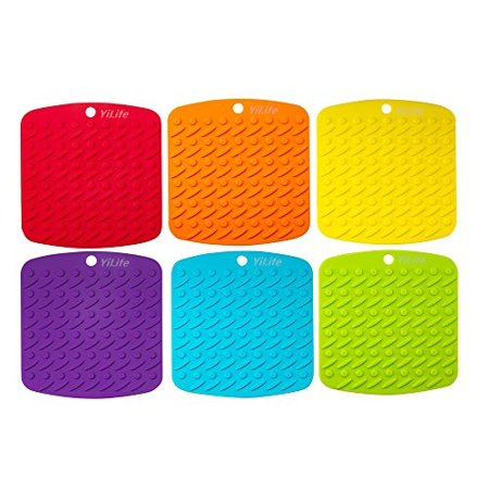 Premium Silicone Pot Holder,Trivets,Hot Mitts,Spoon Rest And Garlic Peeler Non Slip,Heat Resistant Hot Pads,Multipurpose (Silicone Hot Pad)