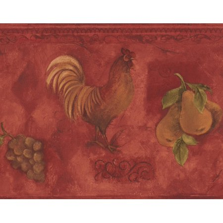 (Rooster Grapes Pears Cherries Red Wallpaper Border Paint by Design, Roll 15' x 9'')