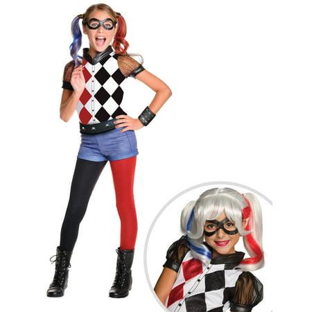 DC SuperHero  Harley Quinn Deluxe Costume for Kids and DC SuperHero Girls Harley Quinn Wig
