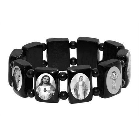 Catholic Saint Icons Wooden Bracelet, Black and White Elastic Religious Bangles - Wooden Bangles
