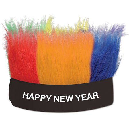 """Club Pack of 12 Hairy """"Happy New Year"""" Decorative Party Headbands"""
