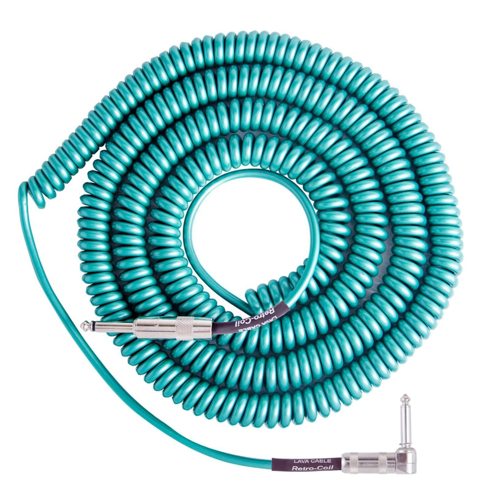 Retro Coil 20-Foot Silent Instrument Cable Straight-Right Angle, Assorted Colors