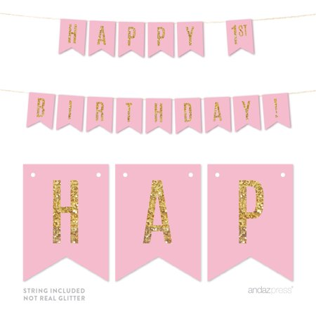 Pink Gold Glitter 1st Birthday Hanging Pennant Party Banner