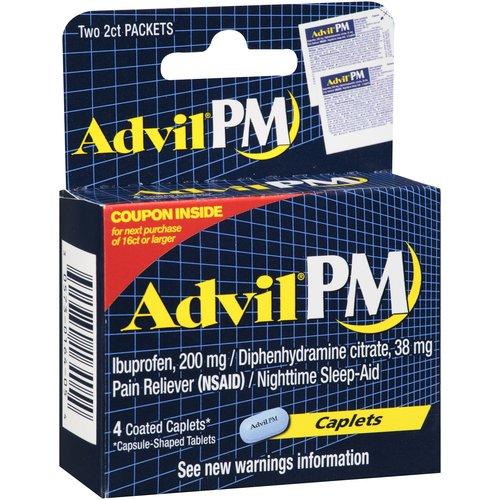 Advil PM Ibuprofen Pain Reliever/Nighttime Sleep-Aid Caplets, 4 count