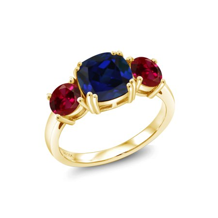 Blue Sapphire Ruby Ring - 4.50 Ct Blue Simulated Sapphire Red Created Ruby 18K Yellow Gold Plated Silver Ring