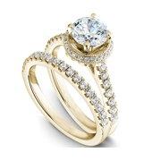 1 Carat Round Cut Real Diamond Halo Bridal Set in 10k Yellow Gold