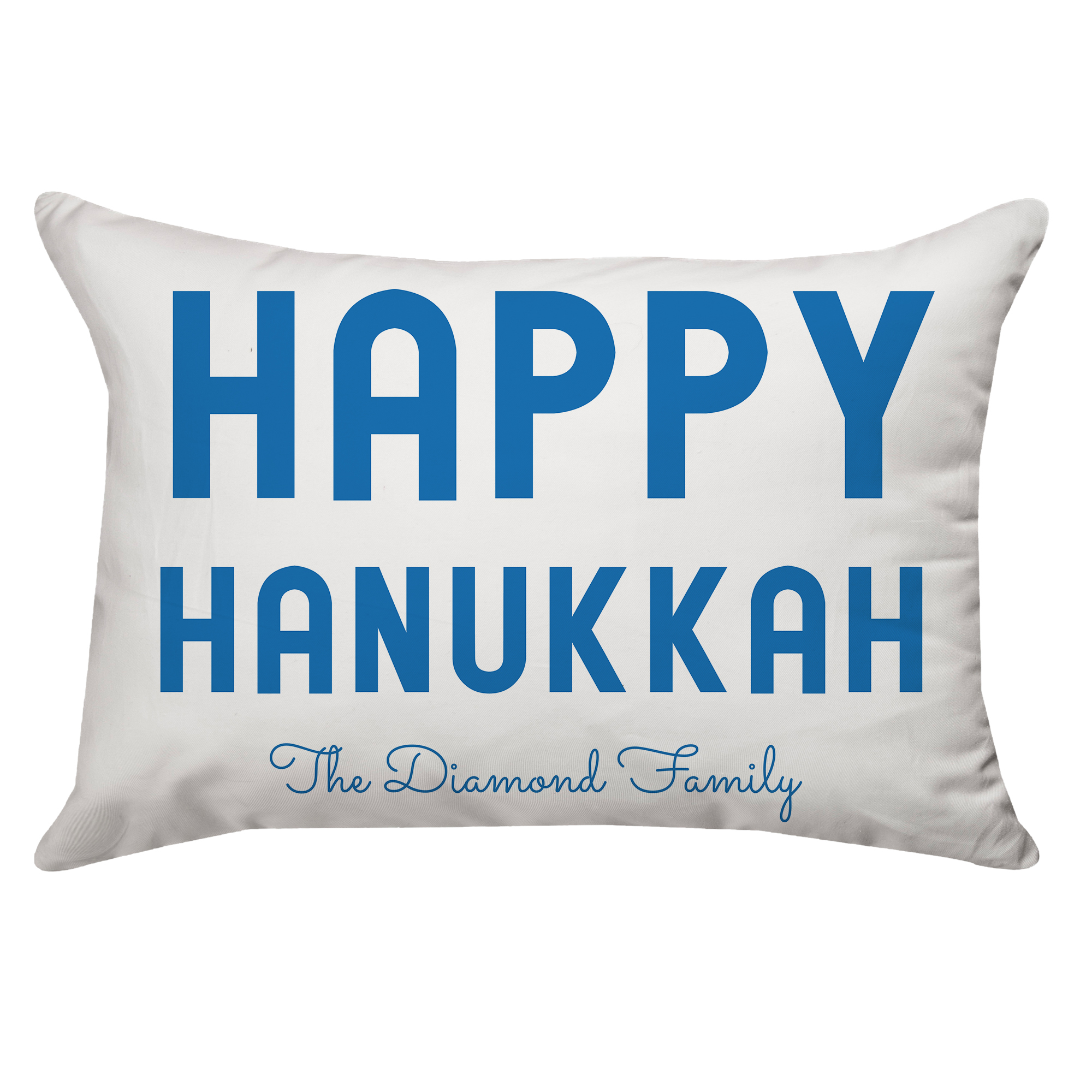 Personalized Bold Happy Hanukkah White and Blue Poplin Throw Pillow 14 X 20
