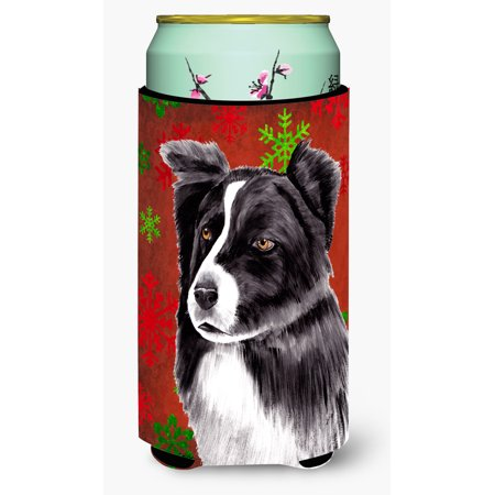 Border Collie Red and Green Snowflakes Holiday Christmas Ultra Beverage Insulators for slim cans SC9407MUK