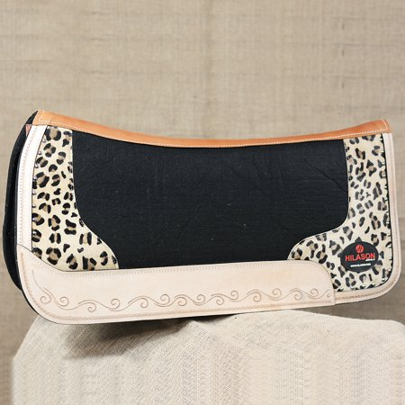 Impact Gel Western Saddle Pad - FP817-F HILASON WESTERN WOOL FELT GEL SADDLE PAD W/ LEOPARD CHEETAH LEATHER