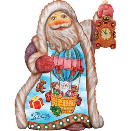 GDeBrekht 661515 5 in. Balloon Ride Santa Ornament Figurine With Scenic Painting