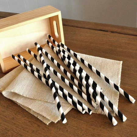 Black and White Paper Straws 10CT. Handcrafted in 1-3 Business Days. Party Straws. (Black And White Paper)