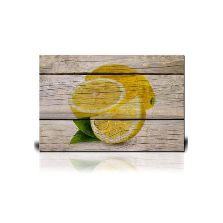 wall26 Canvas Wall Art - Yellow Lemon on Wooden Background - Giclee Print Gallery Wrap Modern Home Decor Ready to Hang - 16