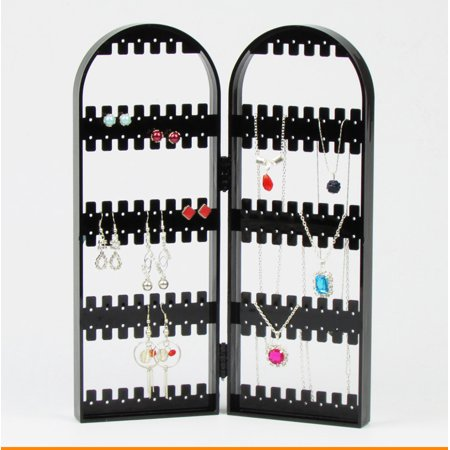 Foldable Earring Display Stand Jewelry Hanger Organizer Bracelets Necklace Holder, Black Display Stand Black Rotating Earring