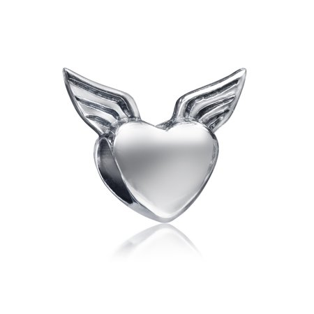 Guardian Heart Angel Wings Charm Bead For Women For Teen 925 Sterling Silver Fits European Bracelet ()