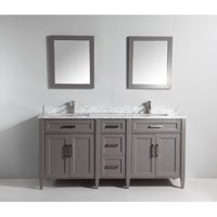 Vanity Art Carrara Marble Stone 72'' Double Bathroom Vanity with Mirrors