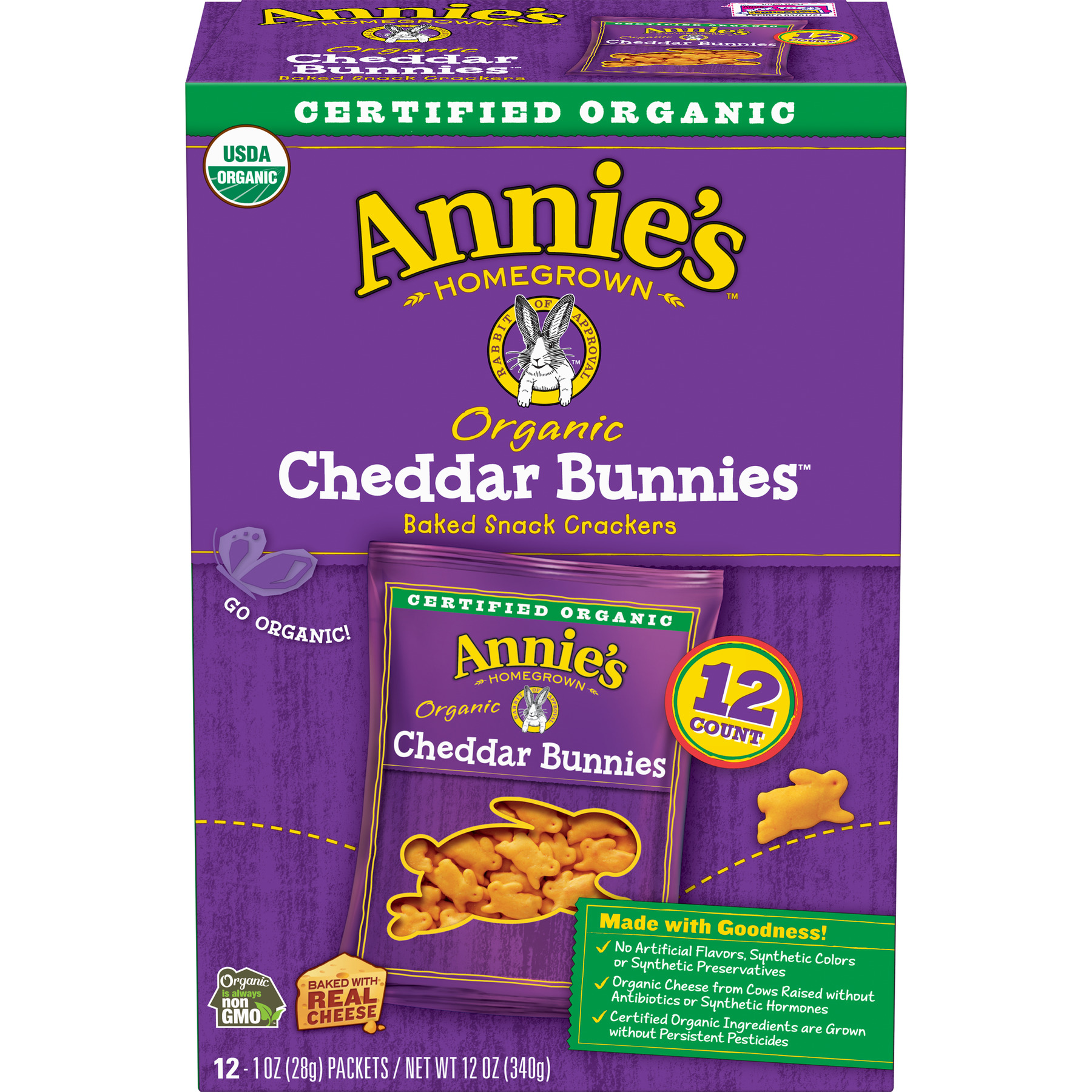 Annie's  Organic Cheddar Bunnies Baked Snack Crackers 12 Ct 12 oz
