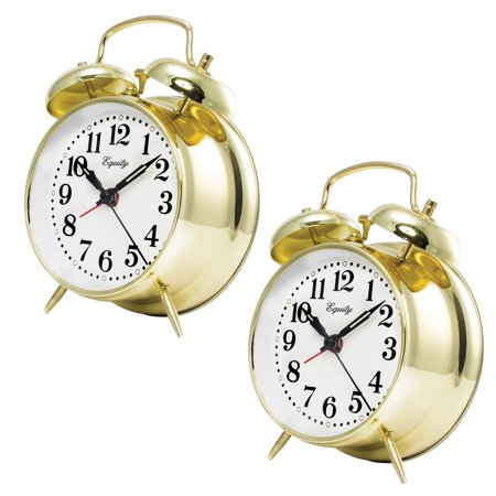 (Set of Two) Keywind Bell Alarm Clocks - Runs Up To 30 Hours On A Full (Alarm Clock That Runs Around The Room)