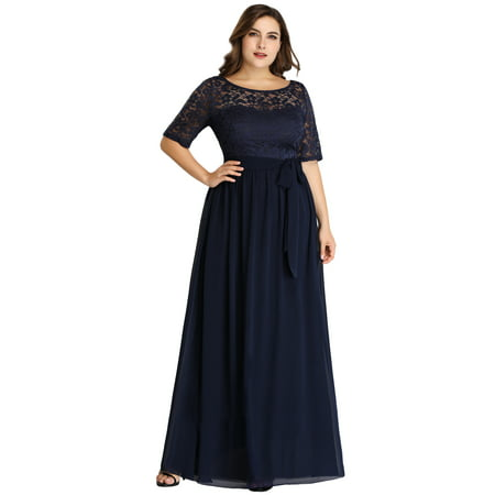 Ever-Pretty Womens Plus Size Elegant Lace Long Formal Evening Mother of the Bride Dresses for Women 07624 Navy Blue (Best Plus Size Mother Of The Bride Dresses)