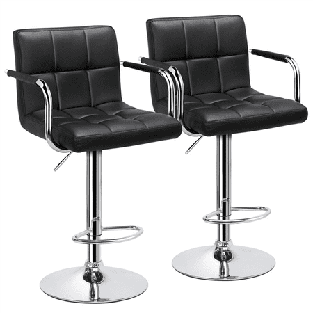 Yaheetech Set of 2 Breakfast Faux Leather Bar Stools Swivel Kitchen Stools Pub Chair w/ Armrest ()