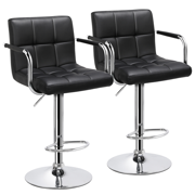 Yaheetech Set of 2 Breakfast Faux Leather Bar Stools Swivel Kitchen Stools Pub Chair w/ Armrest