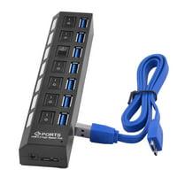 7-Port Rectangle High Speed Laptop USB 3.0 Hub Data Transfer Ports Splitter