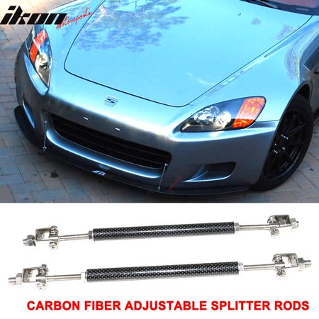 Carbon Fiber Adjustable Front Bumper Lip Spoiler Splitter Strut Rods 8-10.6 Inch