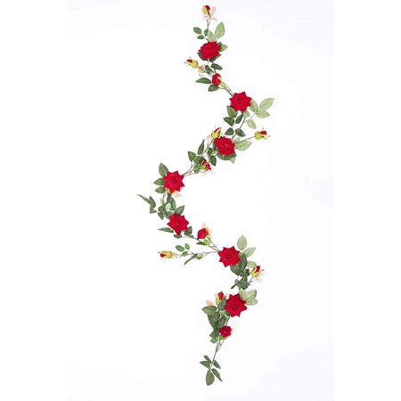 1 Pack Artificial Red Rose Vines Fake Silk Flowers Rose Garlands Hanging Rose Fake Plants for Wedding Home Office Arch Arrangement Decoration ()