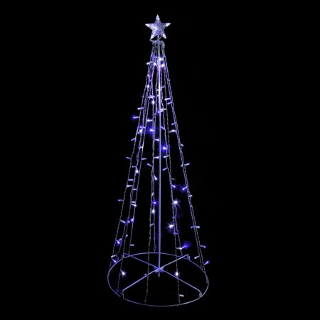 Northlight 5' Blue & White LED Lighted Twinkling Show Cone Christmas Tree Outdoor Decoration ()