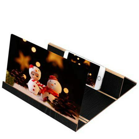 Foldable HD 3D Phone Screen Magnifier Stereoscopic Amplifying 12 Inch Desktop Wood Bracket Phone