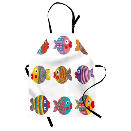 Funny Apron Puffers Toadfish Colorful Childish Fish Family with Folk Patterns Children Nursery, Unisex Kitchen Bib Apron with Adjustable Neck for Cooking Baking Gardening, Multicolor, by Ambesonne