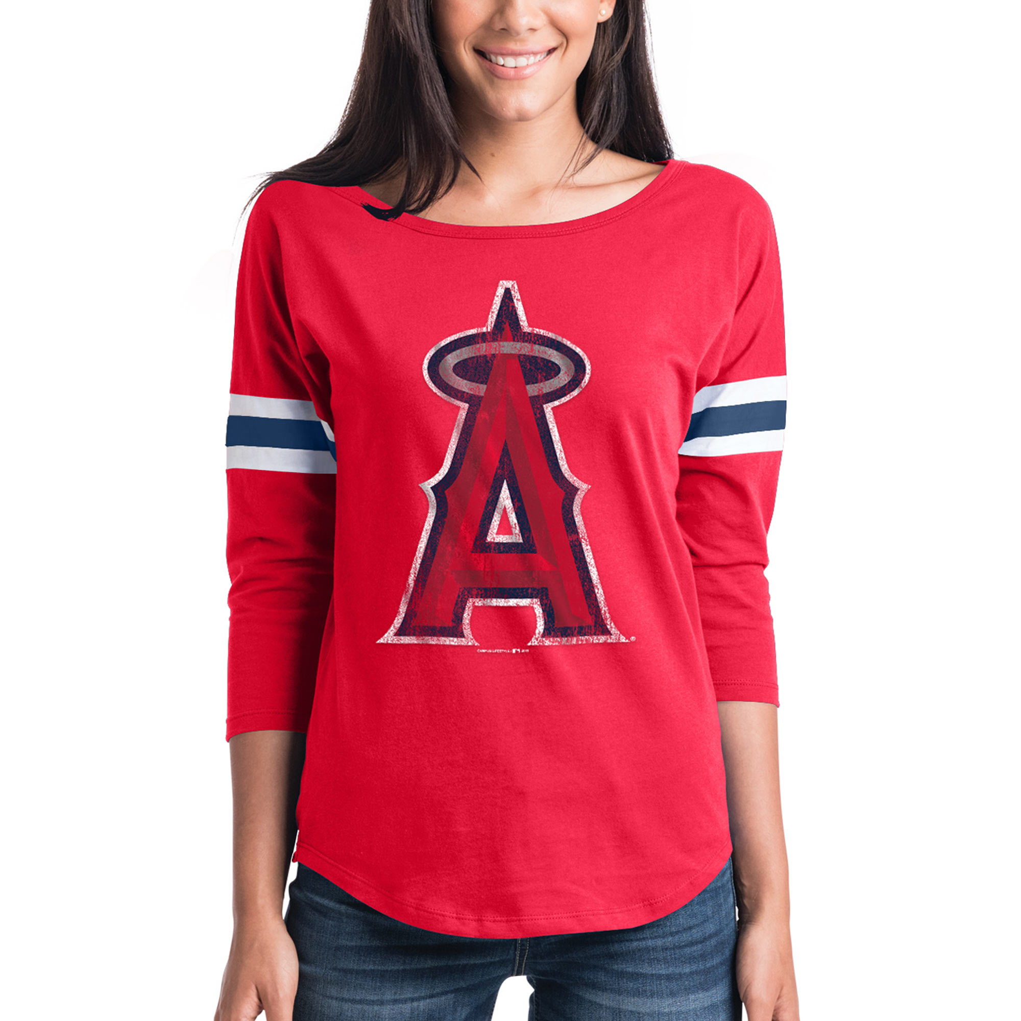 Women's New Era Red Los Angeles Angels Scoop Neck 3/4-Sleeve T-Shirt