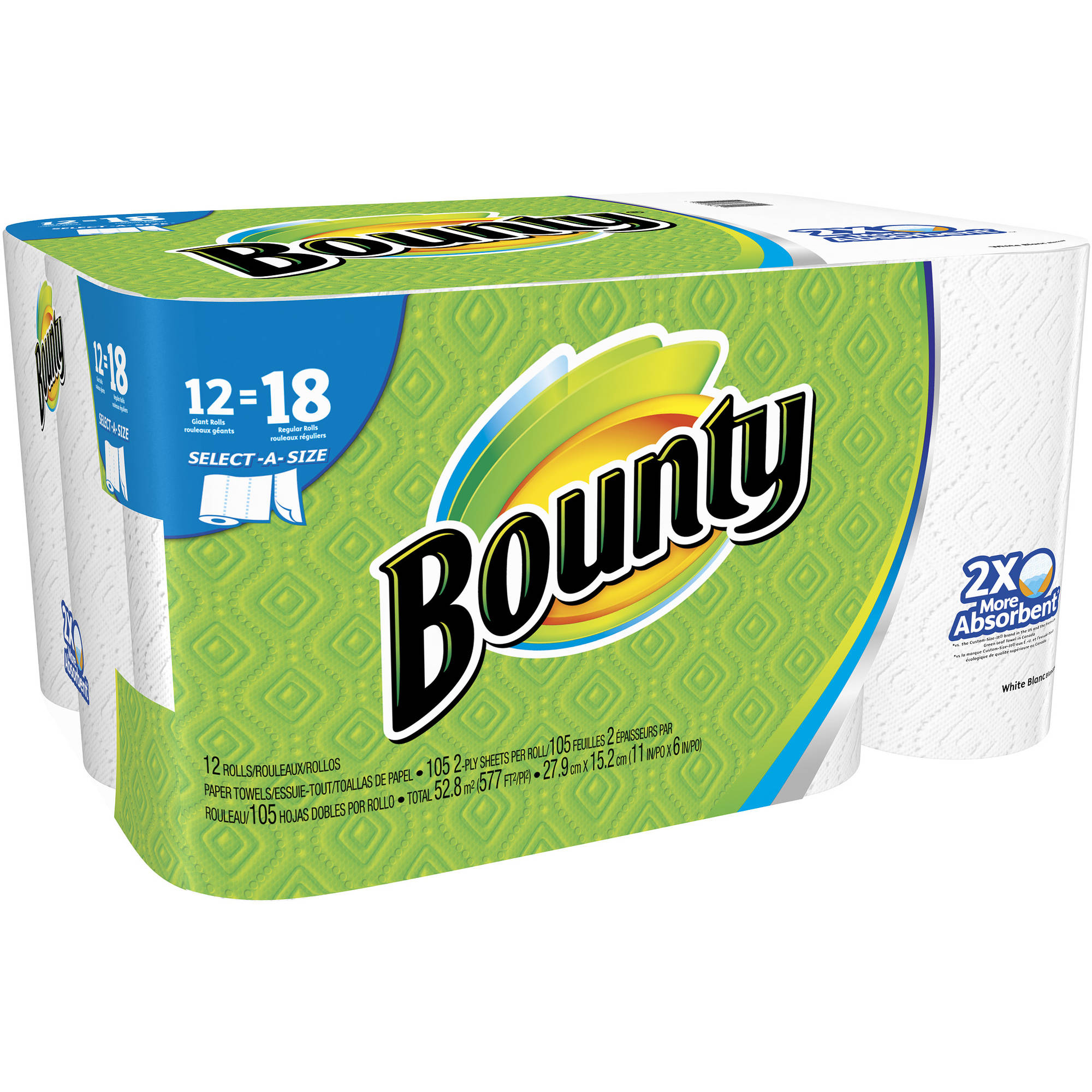 Bounty Select-a-Size Giant Roll Paper Towels, 105 sheets, 12 rolls