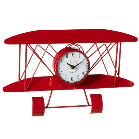 Set of 2 Red and White Airplane Model Decorative Analog Wall Clock 16