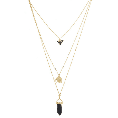 Lux Accessories Goldtone Black Multi Row Layered Novelty Elephant Boho - Novelty Necklaces