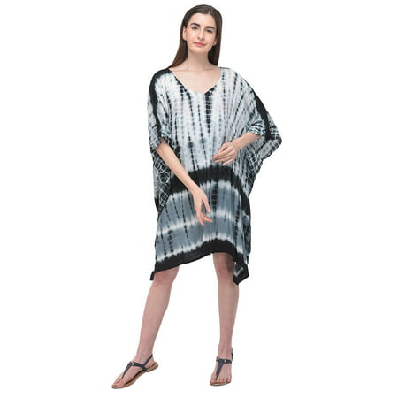 Short Plus Size Tunic Dresses for Women Short Kaftan Tie Dye Stripes Tunic Top Beach Women Cover-ups Caftan Nightwear Online By Oussum