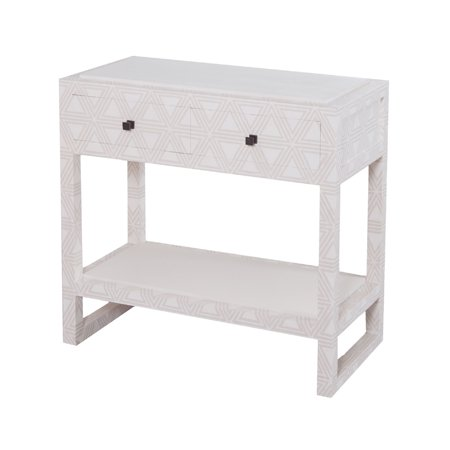 "30"" White Bedside Table with 2 Drawers"