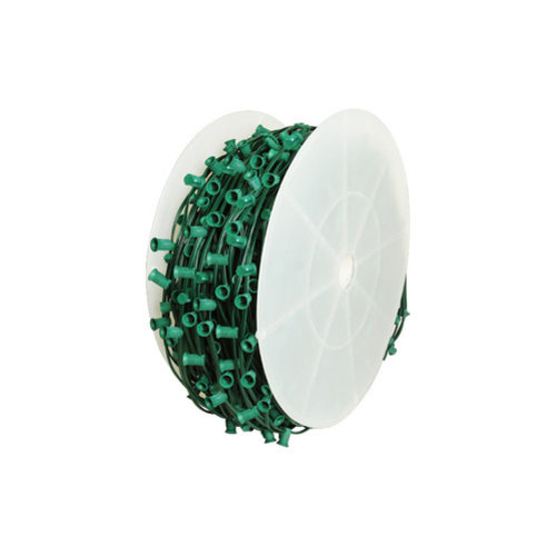 Queens of Christmas WL-C9-15G Cordset C9 Socketed Cord Set E17 Sockets Green Wire 1000 feet 15in Spacing