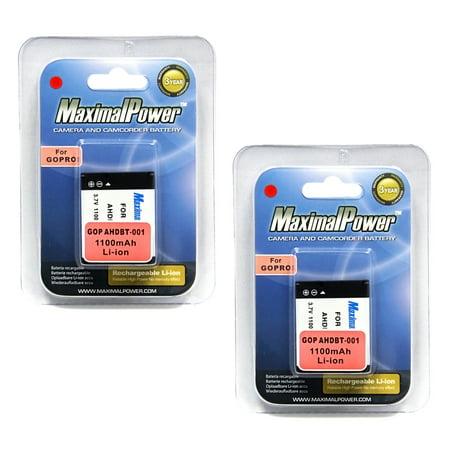 MaximalPower™ TWO BATTERY x 2 for GoPro Hero HD HERO2 Pro AHDBT-001 AHDBT-002 Camera