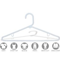 White Plastic Tubular Top Hanger, Box of 144 Economical and Space Saving Tube Hangers w/ Strap Hooks, for T-Shirt Dress or Pants, by International Hanger