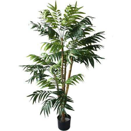 Tropical Plates (5 Foot Artificial Palm Tree – Large Faux Potted Tropical Plant for Indoor or Outdoor Decoration at Home, Office, or Restaurant by Pure)
