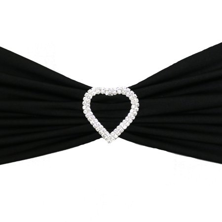 - Your Chair Covers - Heart Rhinestone Chair Sash Buckle Silver 10/pack for Wedding, Party, Birthday, Patio, etc.